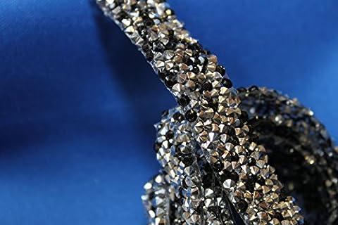 RUBAN STRASS NOIR et silver colle gomme thermocollant 45cm x1,5 cm Bling Custom