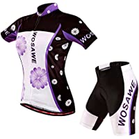 LSKCSH Violeta Ciclismo de las mujeres transpirable jerseys de secado rápido conjunto Ciclismo jersey de ciclo de manga corta chaqueta 4D amortiguador acolchado pantalones cortos apretados (conjunto, L)