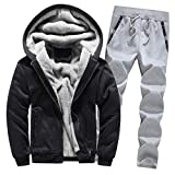 LoveLeiter Jogging Herren Sportanzug Jogging Trainingshose+Jacke Sweatjacke Hose Hoodie Winter Warm Fleece Zipper Sweater Jacke Sport Hose Fitness Hoodie Hose Jacke Outwear Mantel Top Hosen Sets