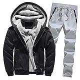 ♚ Conjunto de chándal para Hombre, para Hombre Chándal Warm Fleece Sport Hooded Sweatshirt Coat Hoodies + Pants Sweat Suit Absolute