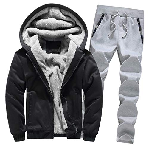 Setsail Herren Hoodie Winter Warm Fleece Zipper Sweater Jacke Outwear Coat Top Hosen Sets -