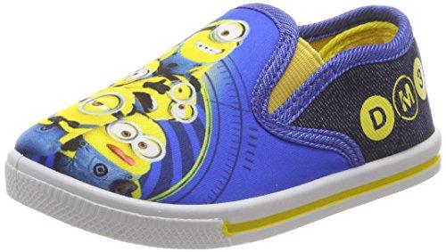Leomil Fashion Jungen Boys Kids Slipon Sneakers Slip On Sneaker, Mehrfarbig (white/Blue), 29 EU