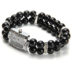 FACILLA® Metal Black Bead Pearl Rhinestone Bracelet Bangle Stretch Wristwatch Wrist Watch