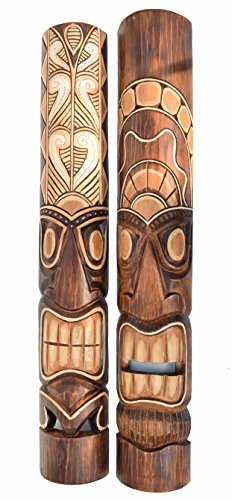 2-Tiki-Mscara-de-pared-100cm-IM-Hawaii-Estilo-MSCARAS-CON-MOTIVOS-Mscara-de-madera-Mscara-Isla-De-Pascua