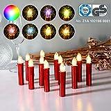 CCLIFE GS/CE LED Weihnachtskerzen Kabellos RGB Kerzen Bunt Weihnachtsbaumkerzen Christbaumkerzen mit Fernbedienung Timer Kerzenlichter, Farbe:Rot, Größe:30er