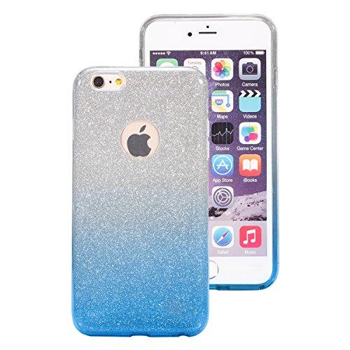 iPhone 6 Plus Coque Silicone Transparent,iPhone 6S Plus Coque TPU,JAWSEU Luxury Placage Rose Or Éclat Brillant avec Diamant en Silicone Téléphone Shell Coque Étui,Bling Sparkle Flash Scintillant Stras bleu/sparkle