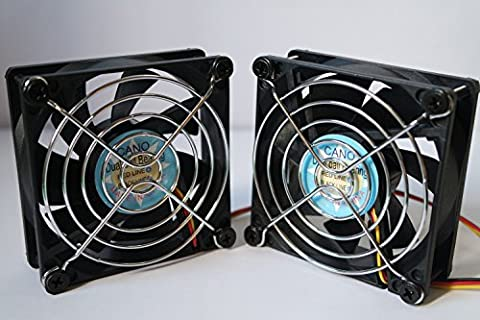 ( 2-PACK) long life with Grill Dual Ball Bearing fan Cooling fan for pc, Computer Cases, CPU Coolers, and Radiators,TV-BOX (4pin PWM 12V, 80mm(8025))