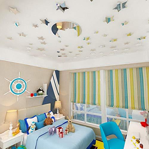 1 Satz (60 Stücke) Stern + 1 Stück Mond Acryl Kristall 3D Diy Room Home Cartoon Wandaufkleber Für Baby Kinder Schlafzimmer Decor @ 02 - 12x12-keramik-fliese