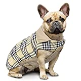 IREENUO Dog Reversible Plaid Coat Autumn Winter Warm Cozy Waistcoat British Style Dog Padded Jacket for Small Medium Large Dogs (S, Beige)