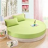 LY&J Baumwolle Runde Bettdecke,Einfarbigen Bett Matratze Cover Stretch Schutzhülle-B...
