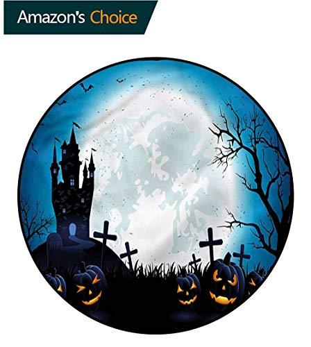 RUGSMAT Halloween-Teppich, Art-Deco-Muster, rutschfeste Unterseite, maschinenwaschbar, rund, für Wohnzimmer, Schlafzimmer, Schreibtisch/Stühle, runde Teppiche, Polypropylen, Style-09, Diameter-51