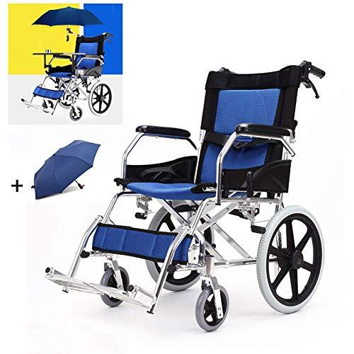 DZWJ Rollstühle Faltbarer mit Eigenantrieb, der, tragbarer Reisestuhl mit Tabelle und Regenschirm faltet, Stehen justierbare Fußstützen für das behinderte ältere Fahren -