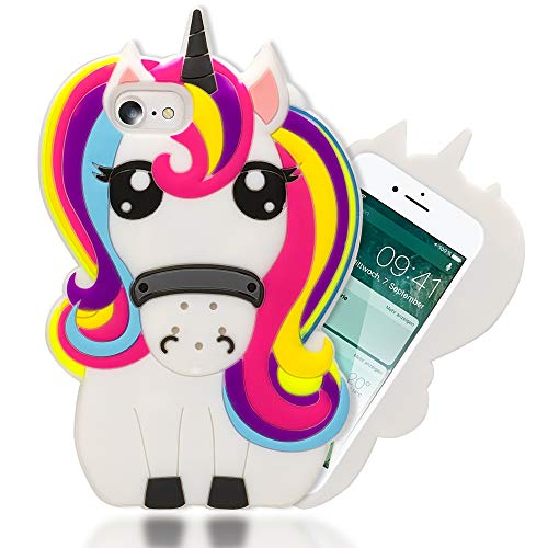NALIA 3D Handyhülle kompatibel mit iPhone 8/7, Dünne Silikon Hülle Cartoon-Case Cover, Stoßfeste Anti-Rutsch Schutzhülle Back-Cover Handy-Tasche Schale Bumper Smart-Phone Etui, Designs:Unicorn