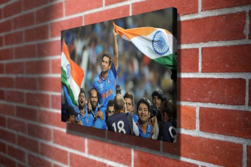 Sachin Tendulkar Celebrates World Cup Cricket Gallery Framed Canvas Art Picture Print