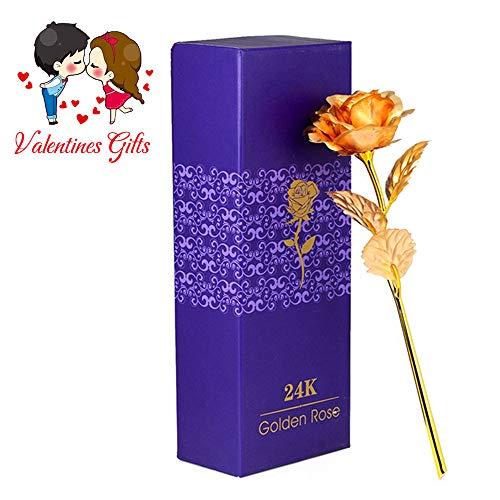 Ranipobo künstliche Blume 24k Gold plattiert Rose lange Stem Blume Liebe und danke, beste Geschenk für Frauen mit Geschenk-Box (24k Rose Bouquet)