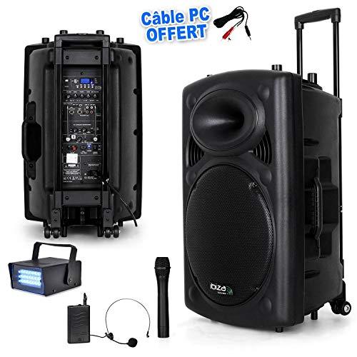 Öffentlichkeit Lautsprecheranlage Mobile MP3800W + 2MIKROFONE port15vhf-bt + Kabel PC + Mini Strobe lytor