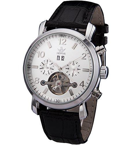 SEWOR Mens Tourbillon Automatic Self Wind Wrist Watch (White)