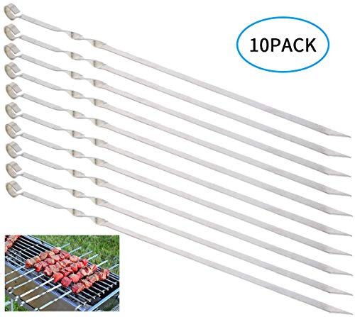MojiDecor bbq skewers 15 inch Stainless Steel Barbecue Grilling Kabob Skewers Flat Shish Kebab BBQ Skewers Grilling BBQ Stick Skewers 10 Piece Set