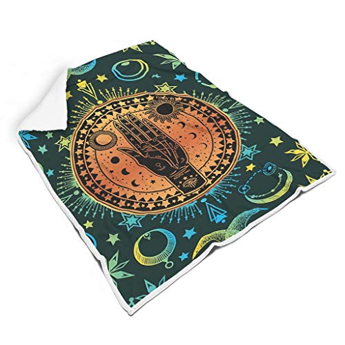 Ainiteey Palmistry Tarot Card Magic Sun Stars Moon schön farblos weiche Decke für Stuhl Nicht fusseln für Baby oder Erwachsene Vielfältiger Stil White 130x150cm