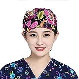 Pinji - Gorro de Enfermería Médico para Pelo Largo Reutilizable, Gorro de Trabajo Elástico para Esteticista, Diseño Flores Anti-polvo