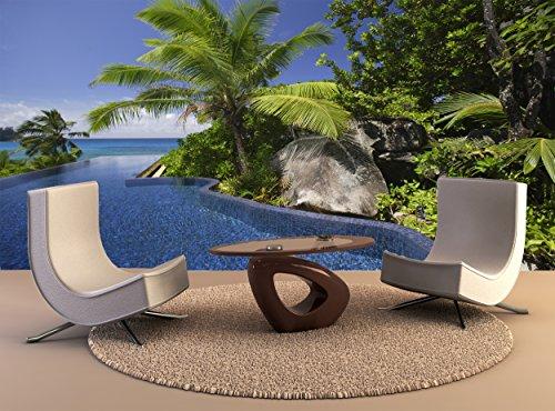 Pool Dekor (Wallpaper Wandbild Pool Palmen Banyan Tree Hotel Anse Intendance Mahe Seychellen Wall Art Dekor Fototapete Poster Hochwertiger Druck)