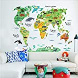 XQWZM DIY Animal World Map Wall Stickers for Kids Rooms Boys Girls Children Bedroom Wall Decals PVC Murals Home Decor