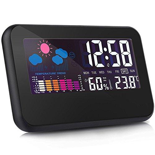 Shuangklei Indoor Thermometer Hygrometer Messgerät Mit Digitaler Uhr Und Wecker Voice Kalender Hintergrundbeleuchtung Lcd-Bildschirm - Flache Lcd-thermometer