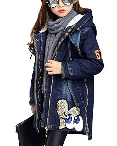 GladiolusA Kinder Mädchen Jeans Jacke Denim Blouson Übergangsjacke Mantel Outwear Trenchcoat Lange Windjacke Dick 140CM (Mädchen Jeans-jacke)