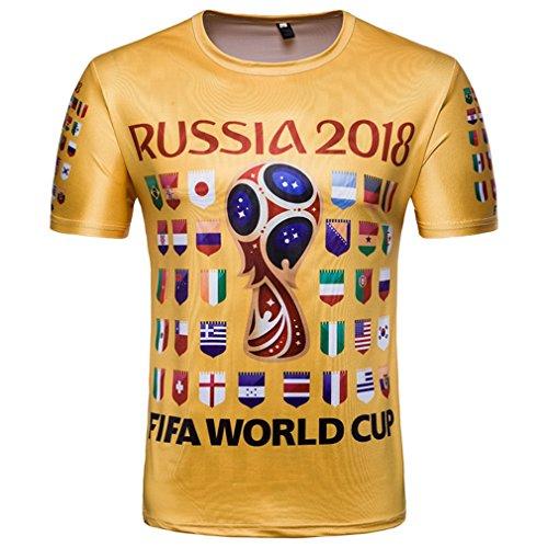 JANDZ World Cup Football T-Shirts (L, Golden 2018)