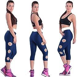 Fliegend Leggings Mujer Push Up 3/4 Malla de Cintura Alta Pantalones de Yoga Fitness con Agujero Redondo Leggins Elásticas Pantalones Deportivos