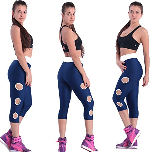 Fliegend Women High Waist Leggings 3/4 Yoga Pants Push Up Fitness Pants Jogging Trousers with Round Ladies Gym Workout Tights Long Sports Pants Super Soft Comfortable Elastic (Black Lace Footless Tights)