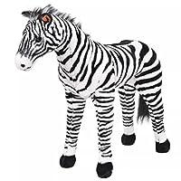 Festnight Standing Plush Zebra Soft Plush Toy - Black and White, Plush, 81x66 cm
