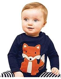 Neugeborene Baby Sweatshirt Kleidung Mädchen Junge Langarm Gestreift Karikatur Fuchs Pullover Tops Outfits Kleinkind Kinder Baumwolle T-Shirt Kleider Babykleidung Jungenkleidung