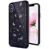 iPhone X Hülle,iPhone X Schutzhülle,Urhause Silikon Handyhülle TPU Case Transparente Echte Blume Bling Shiny Glänzend... preisvergleich bei billige-tabletten.eu