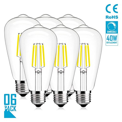 OOFAY LED Glühbirnen, Vintage Edison Glühbirne 4W Dimmbare ST64 E27 LED-Glühbirnen, 400Lm, 360 Abstrahlwinkel, 6400K Tageslicht, LED Glühlampen 6 Pack