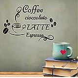 HUAIyinSTO Adesivi Da Parete Caffè Latte Espresso Decal Adesivi In   Vinile Fagioli Tazza Decorazioni Per La Casa Cucina Caffè Ristorante Murale Rimovibile 59 * 40 Cm