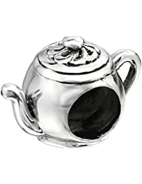 So Chic Joyas - Abalorio Charm tetera Tea Time - La hora té - Compatible con Pandora, Trollbeads, Chamilia, Biagi - Plata 925