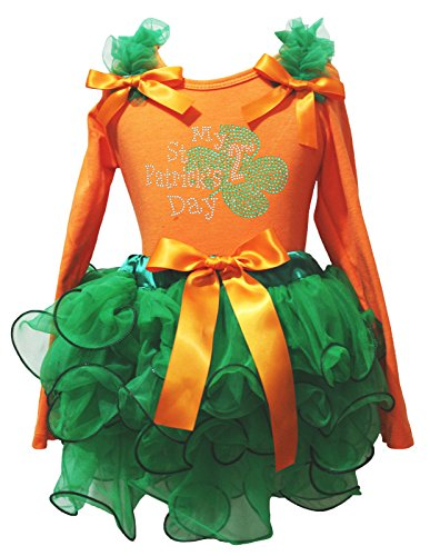 My 2nd ST PATRICK Tag Kleid Orange Baumwolle L/S SHIRT Kelly Green Blütenblatt Rock–74bis 122 Gr. 4-5 Jahre, (Patrick St Kleider Tag)