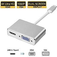 AMANKA Adaptador USB C a HDMI VGA, Adaptador 2 en 1 Tipo C a VGA HDMI UHD Adaptador Plug and Play con Carcasa de Aluminio para Macbook Proyector TV