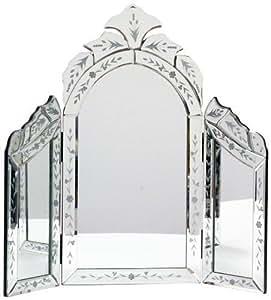 Belle Maison Petite fleur en verre vénitien gravé pour coiffeuse avec miroir