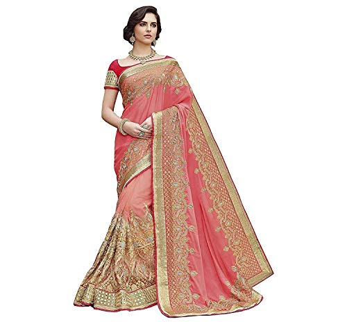 Shyora Designer Georgette & Net Saree With Blouse Piece (Shiv2413-RADHE15_A Pink_Free Size)