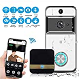 KOBWA Wifi Smart Doorbell with Door Chime, Wireless Doorbell Set Waterproof 720HD Real-Time Video Two-Way Audio Night Vision Motion Detection Support Phone APP (Including Rechargeable Battery)