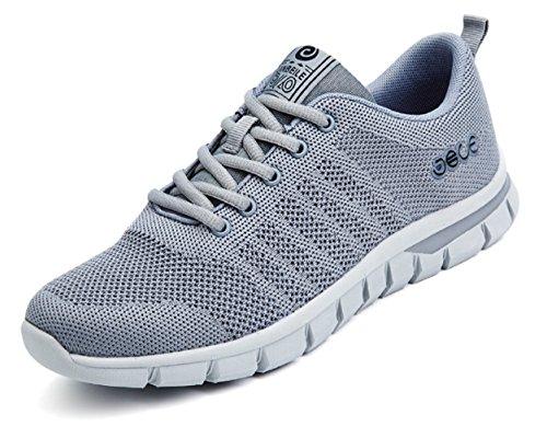 Mode Turnschuhe Atmungsaktiv Flyknit Woven Rennen Schuhe Leicht Athletisch Herren Damen Outdoors Grau