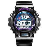 Beydodo Relojes Electronicos Reloj Multifunción Reloj Deportivo Reloj Impermeable Reloj de Pantalla Única Reloj Hombre Reloj Negro Púrpura