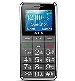 """AEG Voxtel M250 Telefono Cellulare con Grandi Tasti, Tasto Sos e Schermo LCD da 1.8"""", Nero"""