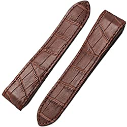 HQ 23MM BROWN LEATHER WATCH BAND STRAP DEPLOY CLASP FIT CARTIER SANTOS 100 XL 38mm