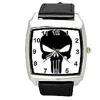 Unisex Boys Girls steel finish Punisher leather strap watch