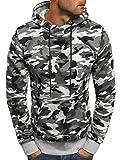 OZONEE Herren Kapuzenpullover Sweatshirt Langarmshirt Sweatjacke Motiv Pullover Prints Camouflage Pulli J.Style DD129-10