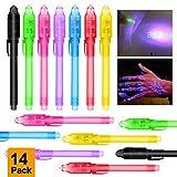 MMTX Invisible Up Pen avec UV Light Magic marqueur marqueur Stylos pour Message Secret et fête d'anniversaire pour Garçons Enfant (Pack de 14)