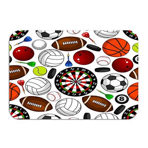 sdfwerweq Carpet Rug Door mat Seamless Pattern Sport Items White Soccer American Football Basketball Baseball Volleyball Tennis 16 * 24 inch